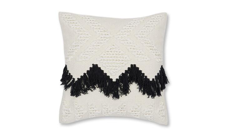 fringe pillow black