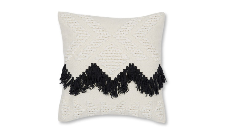 fringe black pillow