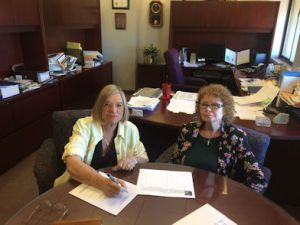 Joyce and City Clerk Pam Hanna in her office