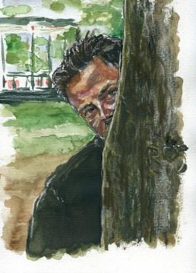 Ramon behind a tree