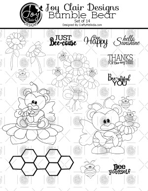 Photo of all the digital stamps included on the set Bumble Bear