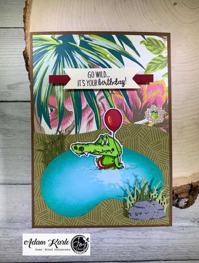 Animal stamped card with a crocodile from the Party Animal stamp set