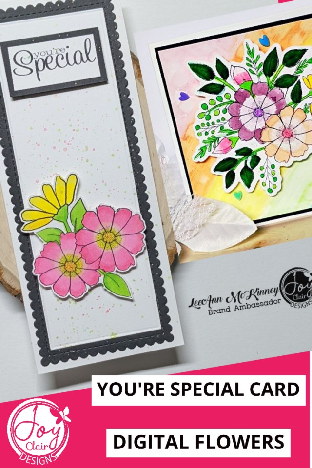 Close up of the flowers to make a simple you are special card.