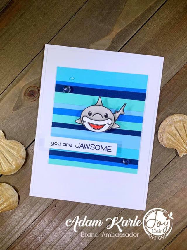 Animal stamped card with Baby Shark stamp set