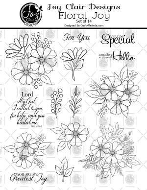 Floral Joy Digital set from Joy Clair Designs. This include 9 different designs of flowers and 5 sentiments.