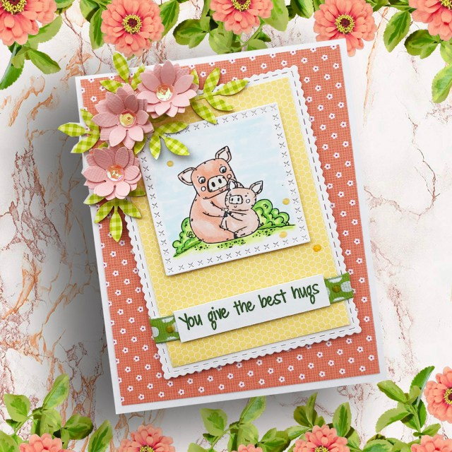 Easy DIY Mother's Day Card created with animal images and sweet sentiment from the Mother's Day Love stamp set from Joy Clair Designs. This card has flowers die cuts that complete the design.