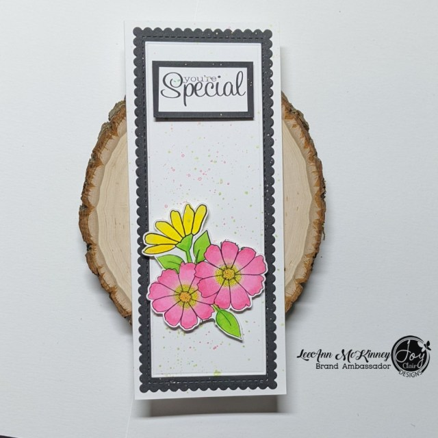 Slimline card created with the digital flowers and sentiments from Floral Joy set.