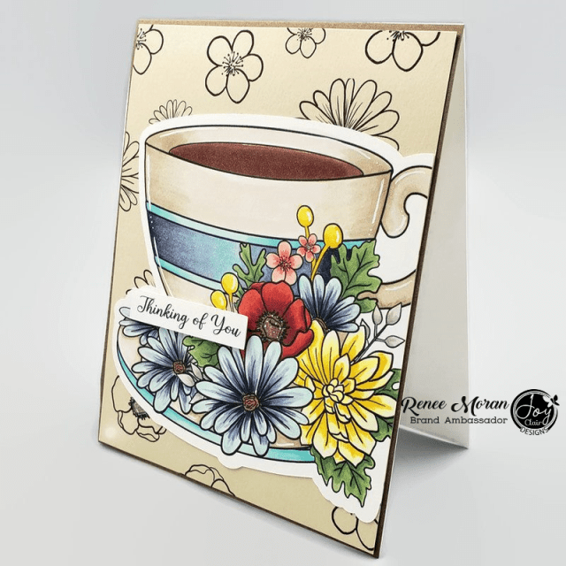 Image features Large  mug of coffee with floral and sentiment which reads Thinking of you