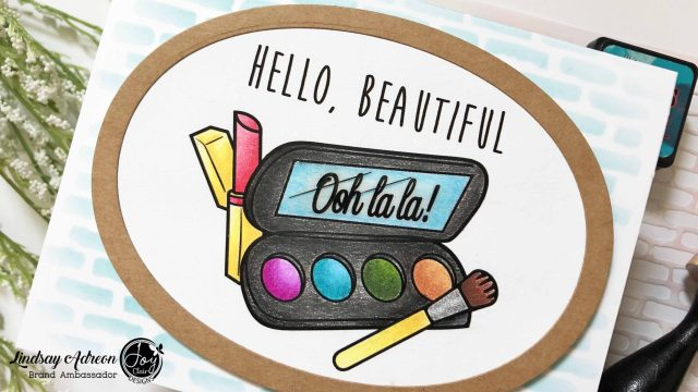 A handmade hello card. Made with the Oh La La digital stamp set from Joy Clair Stamps.