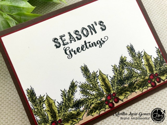Inspiration for Christmas in July. Close Up of a Card stamped with Rustic Christmas Sentiments set from Joy Clair Designs