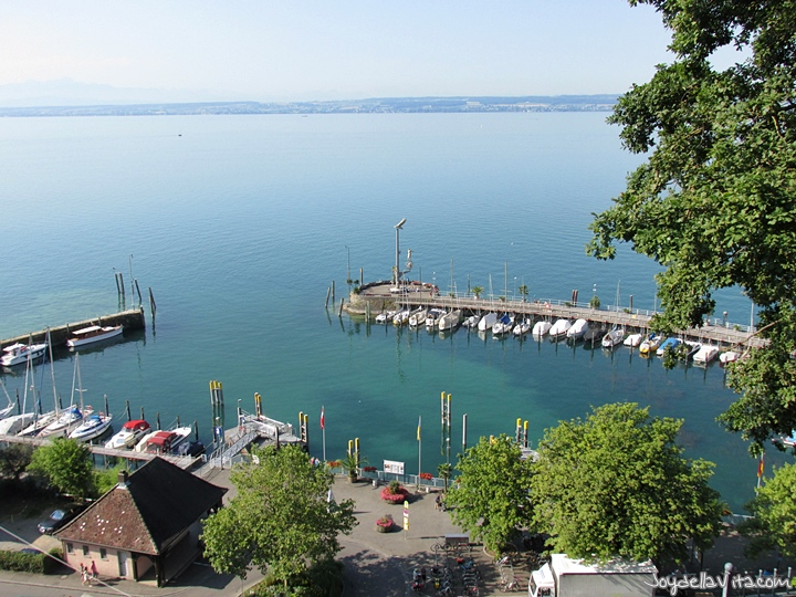 View from Gutsschänke on the Harbour of Meersburg and Lake Constance