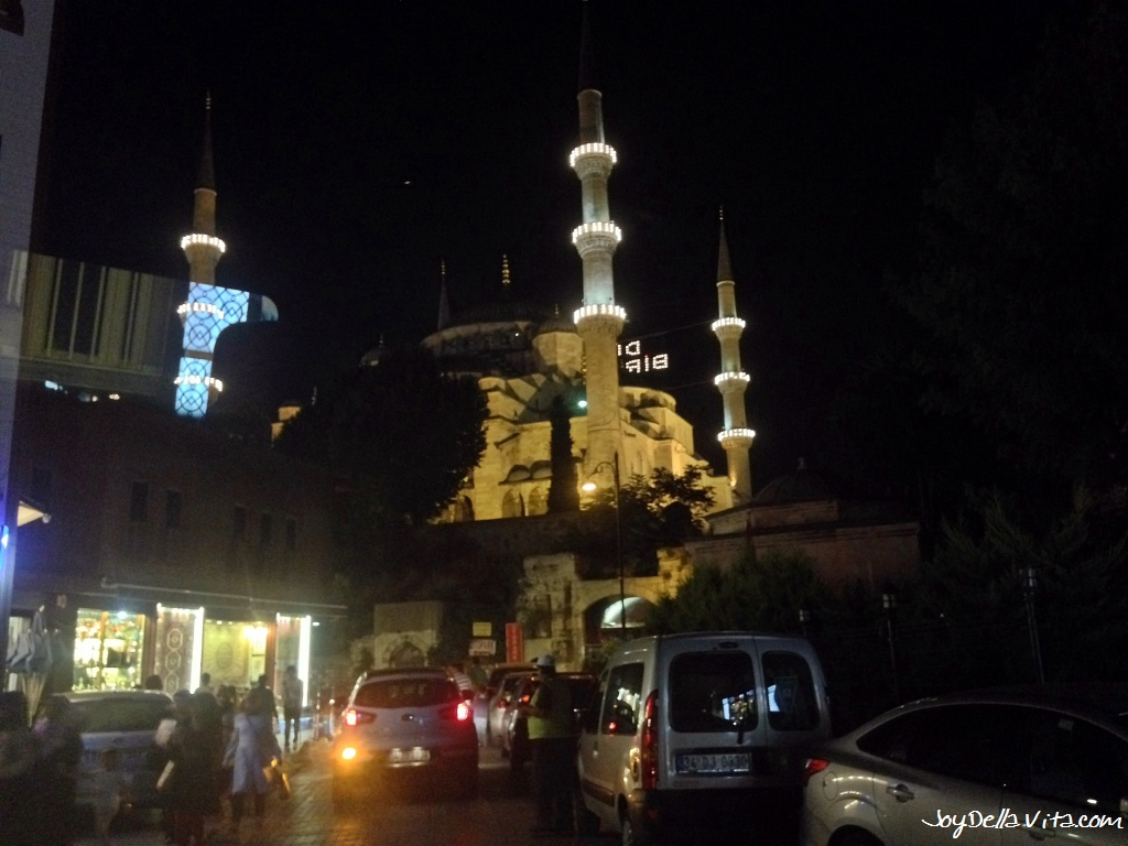Blue Mosque at night as seen form my Payless Airport Shuttle Service ride in Istanbul