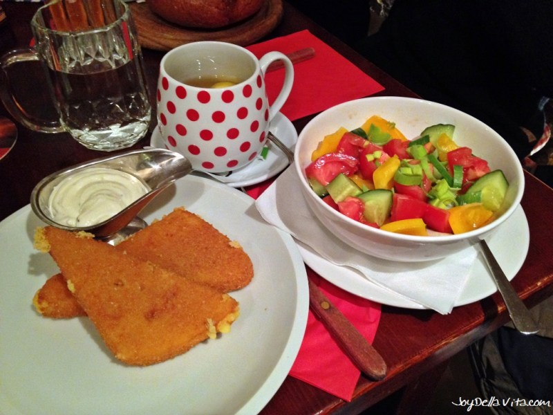 Fried Cheese with Tartar Sauce and a small mixed Salad