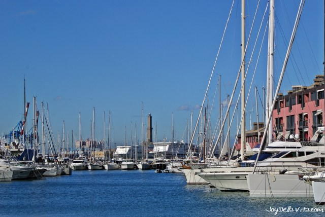 Porto Antico of Genoa, in the background the iconic Lanterna a renaissance lighthouse built in 1543