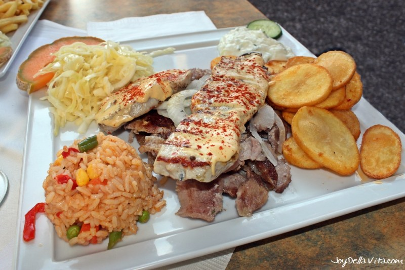 Mixed Plate with Gyros, grilled Meat, Rice, Salad and Potatoes Konstantinos Greek Restaurant Friedrichshafen Lake Constance