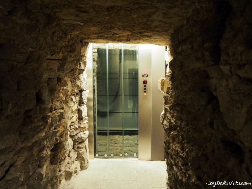 Escalator inside the Civic Tower Campanone Bergamo