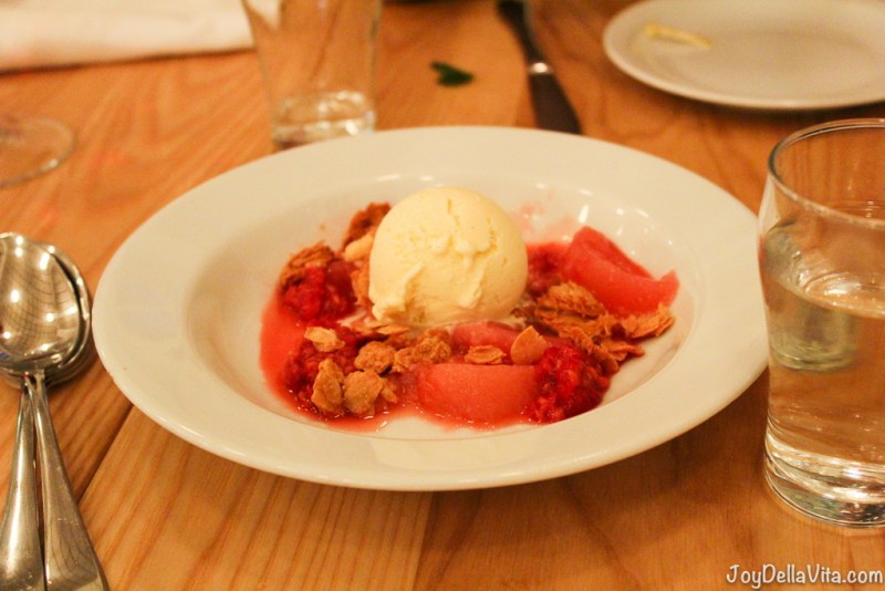marinated red fruit, vanilla ice-cream and crumbles