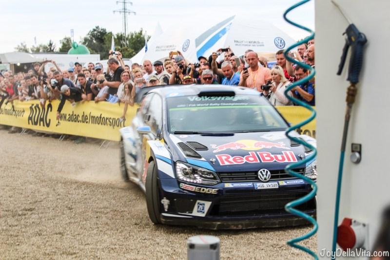 Ogier drifting into Volkswagen Motorsport service park