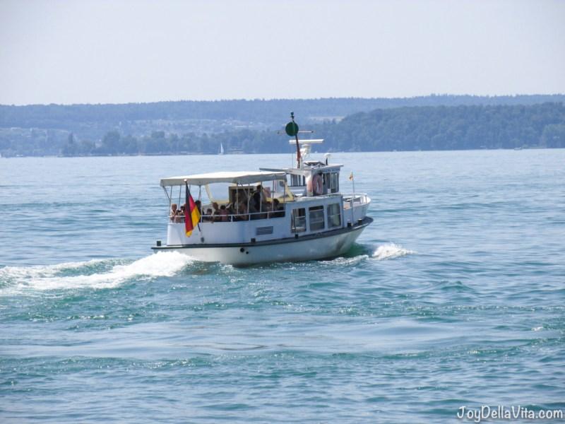 Boat on Lake Constance, towards Mainau Island