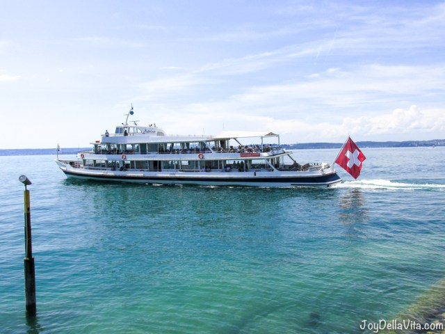 Swiss Ship on Lake Constance, leaving Meersburg Port