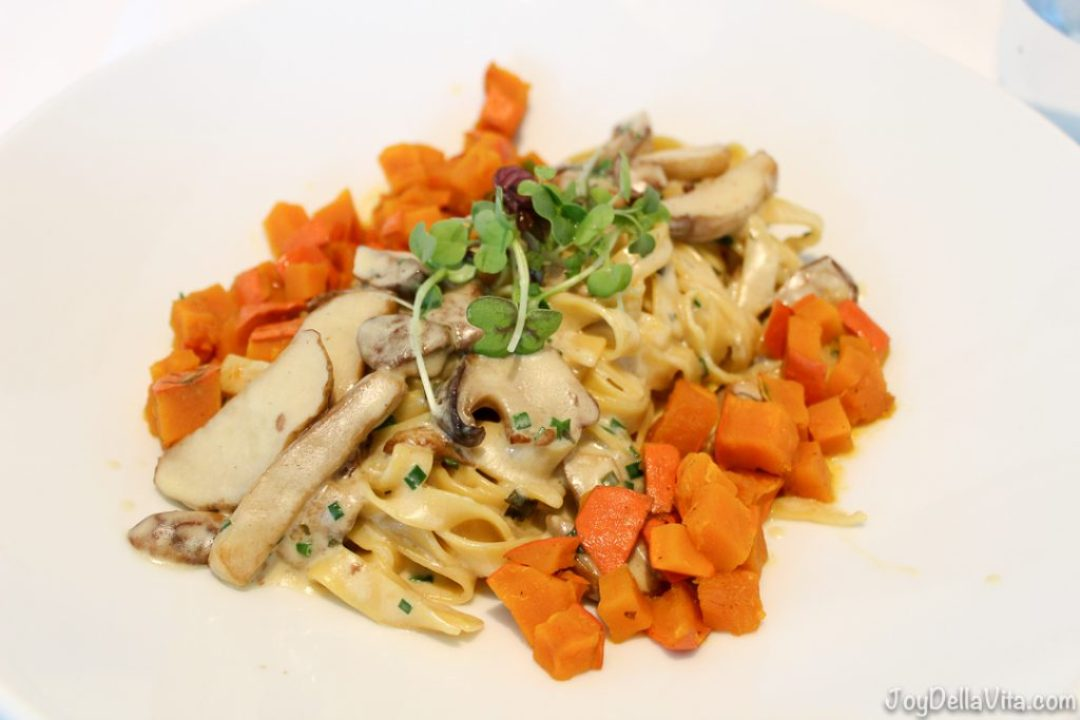 homemade Tagliatelle with sautéed yellow boletus in herb cream & caramelized chili pumpkin