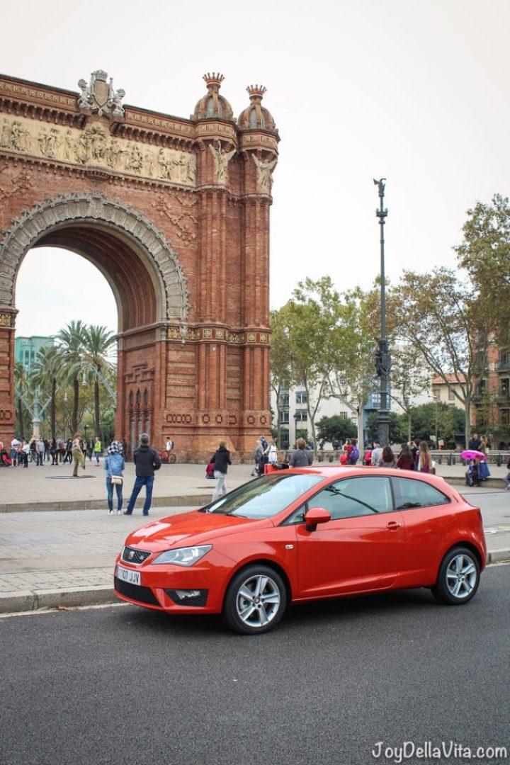 SEAT Ibiza in front Arc de Triomf Barcelona Travel Blog Lisa Joy