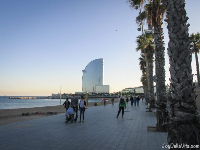 right after sunset at Passeig del Mare Nostrum in Barcelona