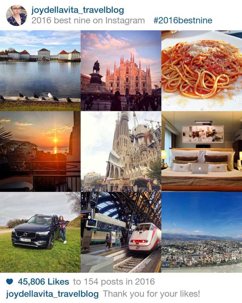 My <strong>#2016BestNine</strong> Instagram Photos: Nymphenburg Castle in Munich, Duomo di Milano, Spaghetti Napoli in Bergamo, Sunrise in Altea (Spain), Sagrada Familia in Barcelona, Mandarin Oriental Geneva Hotel Bed, test-driving the Volvo XC90, taking the Train from Milan to Venice, view from the ferris wheel in Malaga.<br /> (from the top, left to right)