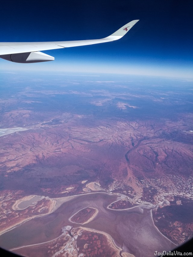 flying above northern Australia, with the Qatar Airways Airbus A350 XWB