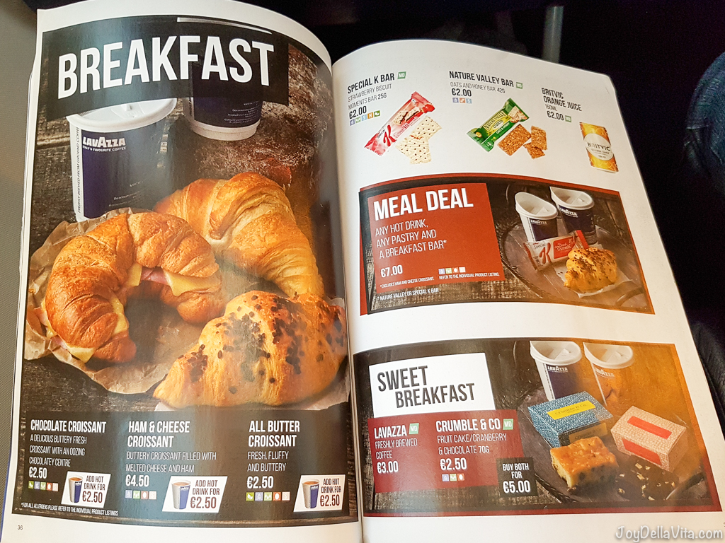 RyanAir Breakfast Prices RyanAir In-Flight Menu 2017 Prices JoyDellaVita