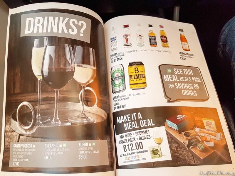 RyanAir Alcoholic Drinks RyanAir In-Flight Menu 2017 Prices JoyDellaVita