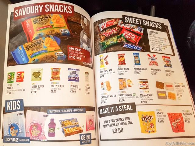 Savoury Snacks & Sweet Snacks RyanAir In-Flight Menu 2017 Prices JoyDellaVita