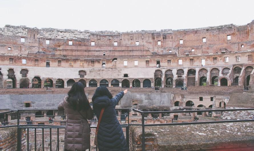 Visiting Colosseum in Rome in Winter Season