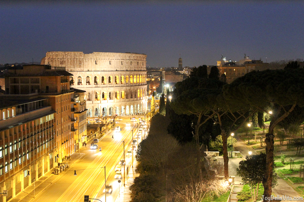 Colosseum at Night Mercure Roma Centro Colosseo Hotel Rome JoyDellavita
