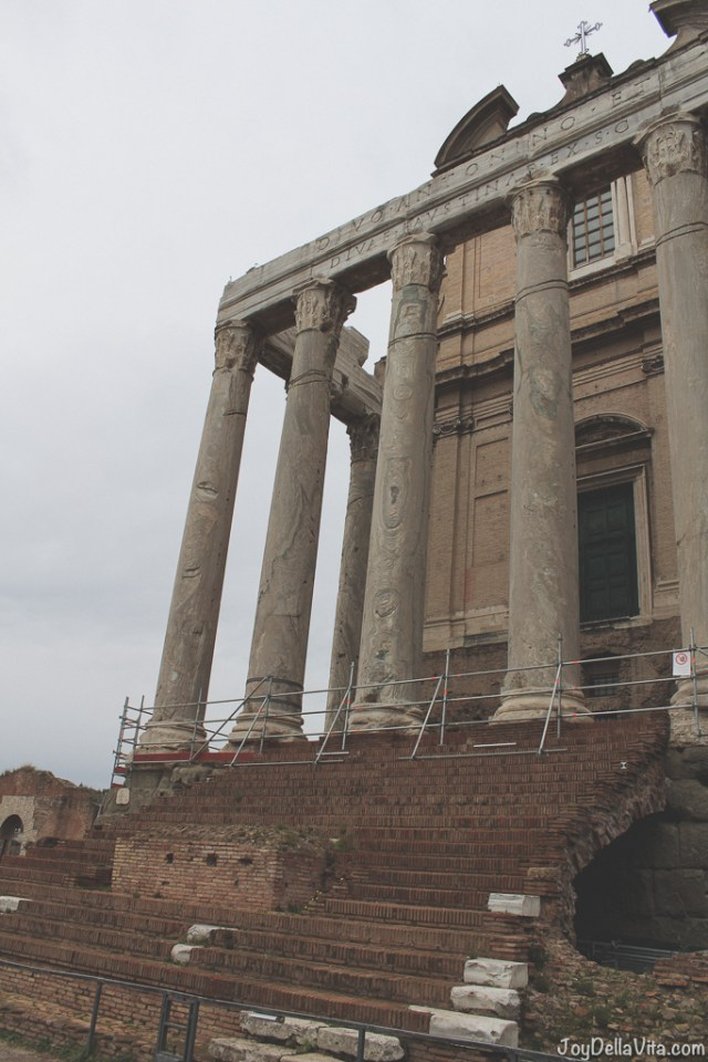 Antoninus and Faustina Temple Tempio di Antonino e Faustina Roman Forum Rome Winter JoyDellaVita