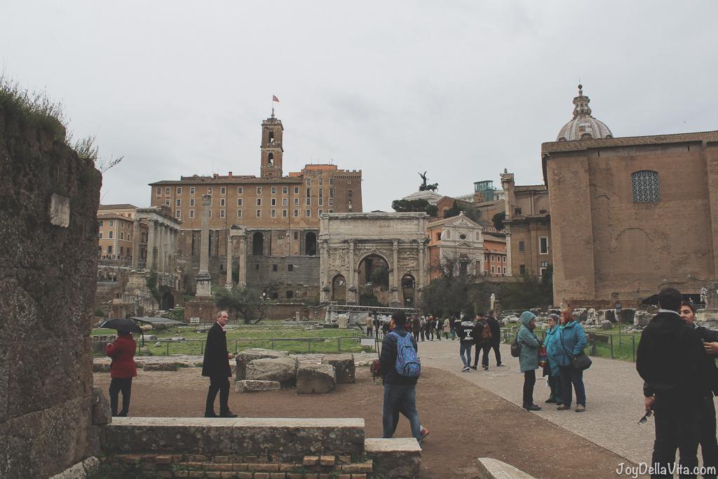 Tabularium Temple of Vespasian and Titus Tempio di Vespasiano e Tito Roman Forum Rome Winter JoyDellaVita
