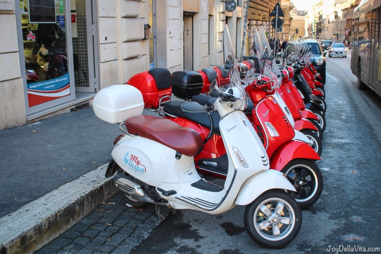 Vespa and small Cars of Rome