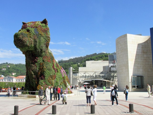Guggenheim Museum Bilbao with the famous Puppy by Jeff Koons Travel Blog Joy Della Vita