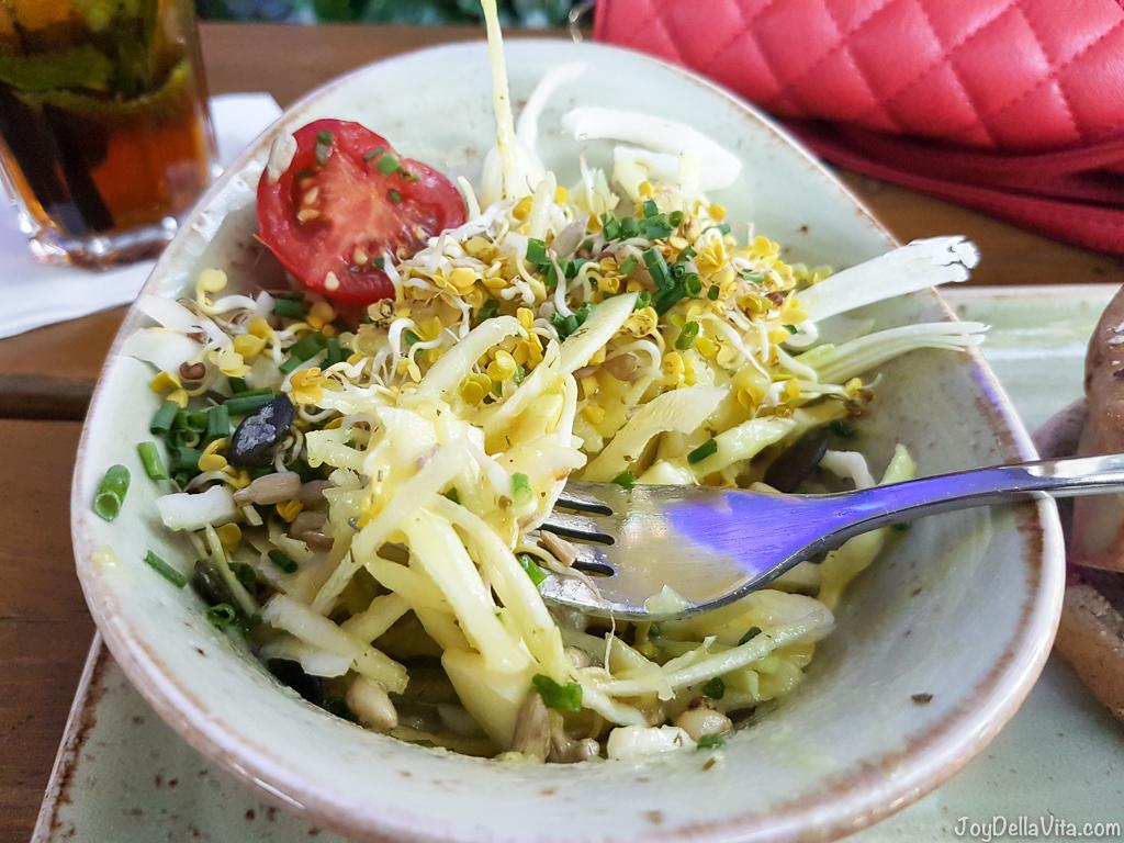 Coleslaw with potato dressing Hans im Glueck Munich Goetheplatz -  JoyDellaVita.com