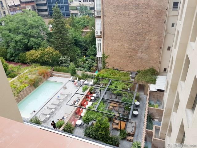 terrace with outdoor pool in Barcelona - Alexandra Barcelona Hotel Doubletree Hilton Travel Blog JoyDellaVita.com