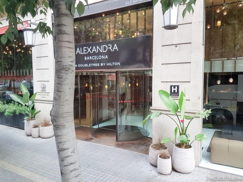 entrance to Alexandra Barcelona Hotel a Doubletree by Hilton  Hotel Travel Blog JoyDellaVita.com