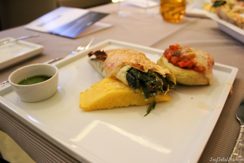 Polenta Slice with a crispy Spinach filled crepe and artichoke with ratatouille and baked with cheese --  Kastenmeiers Dresden Restaurant Review Vegetarian Gourmet Dinner - JoyDellaVita.com