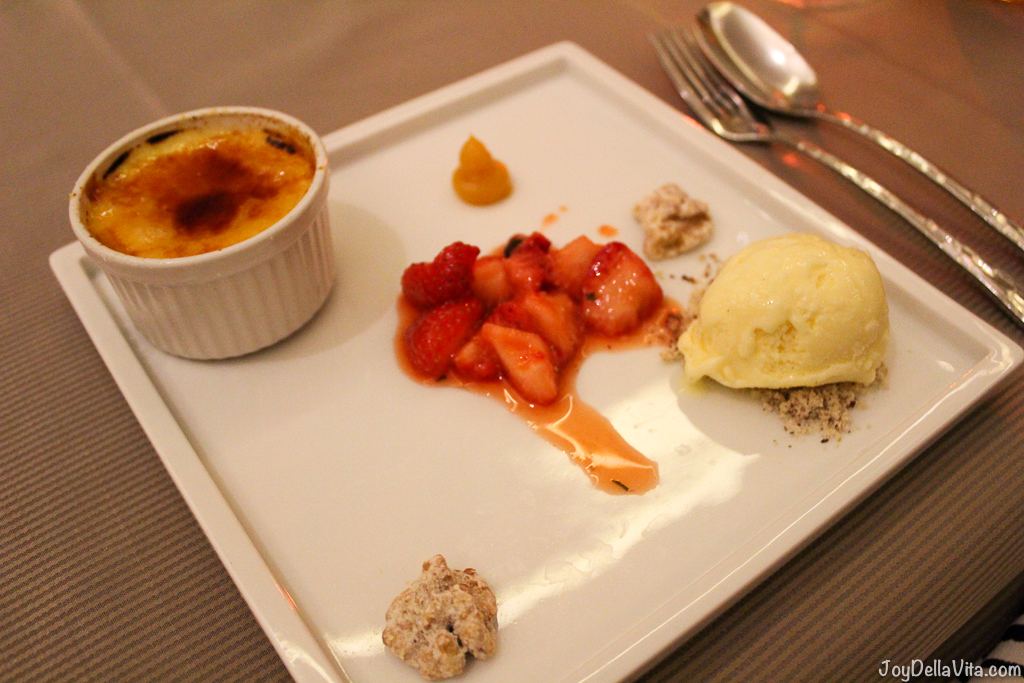 Creme brulee with vanilla ice-cream and marinated strawberries -- Kastenmeiers Dresden Restaurant Review Vegetarian Gourmet Dinner - JoyDellaVita.com