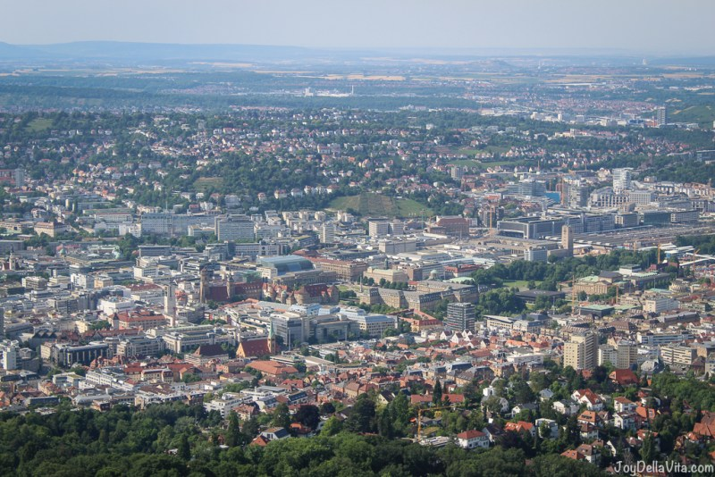 Stuttgart City as seem from Fernsehturm Stuttgart TV Tower -- TV Tower Stuttgart Fernsehturm Travelblog JoyDellaVita.com