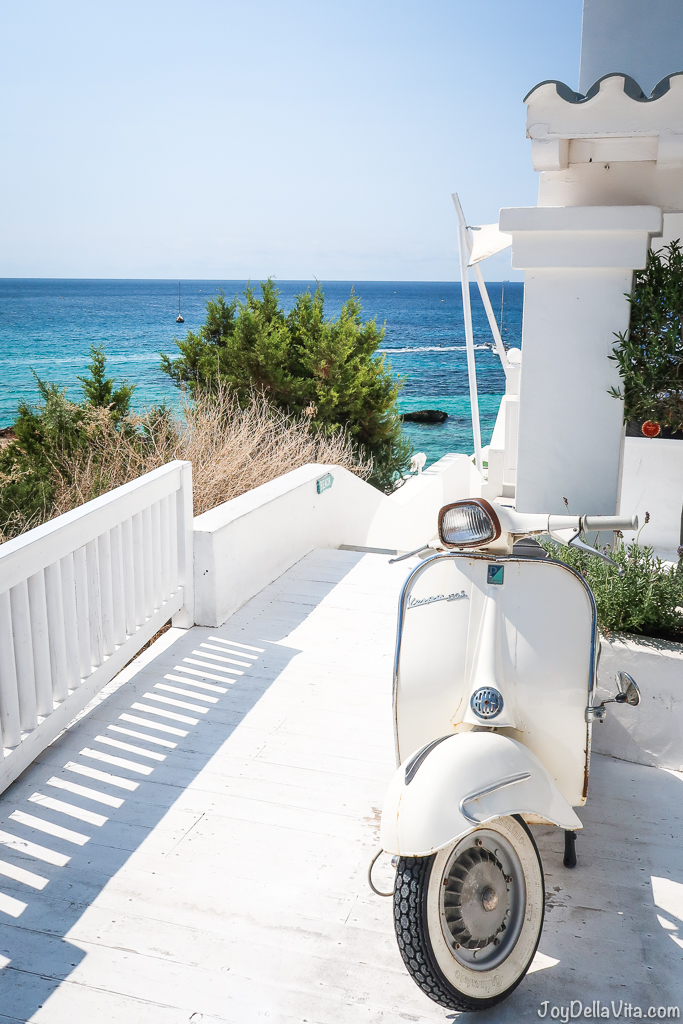 ibiza beach club white vespa blue sky holiday vacation