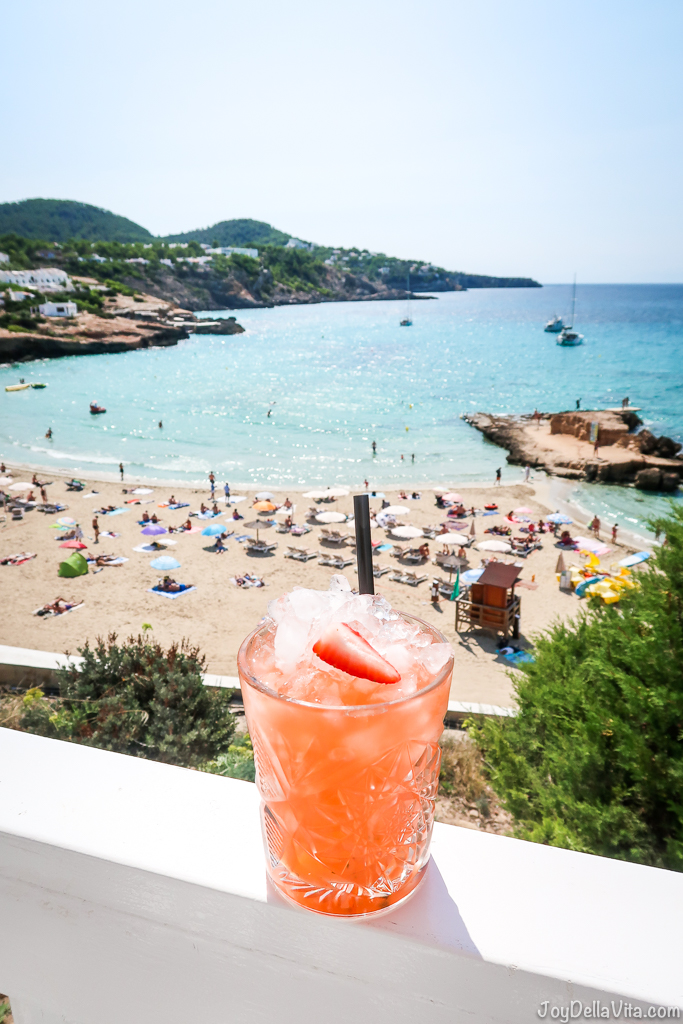 strawberry-basil lemonade at Cotton Beach Club Ibiza overlooking the beach