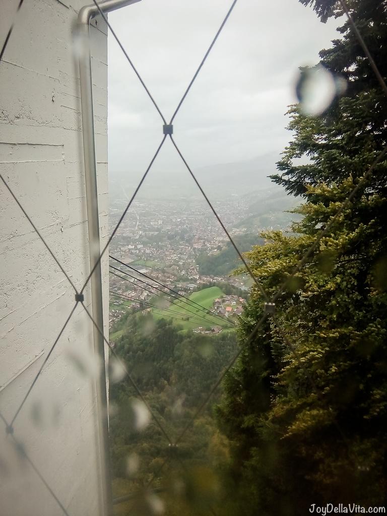 View from the bathrooms at Karren Panorama Restaurant in Dornbirn / Vorarlberg
