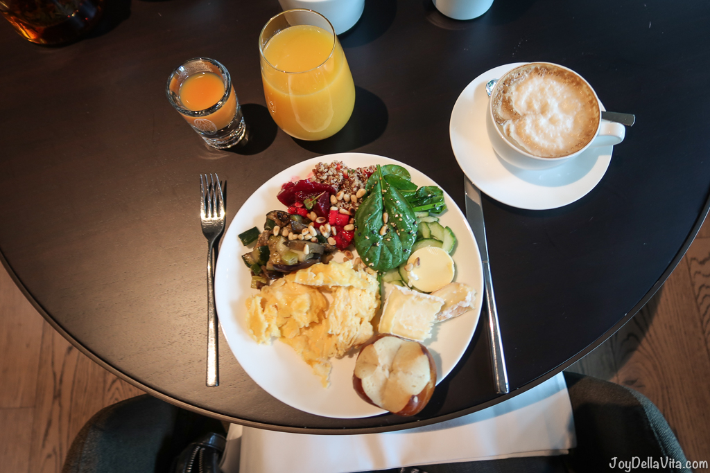 Scrambled eggs, spinach, beetroot, grilled veggies, pine nuts, soft cheese for breakfast Baden-Baden moriki Roomers Hotel