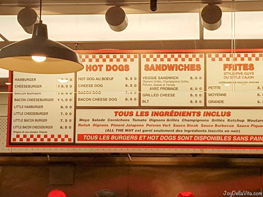 Menu at Five Guys in Paris