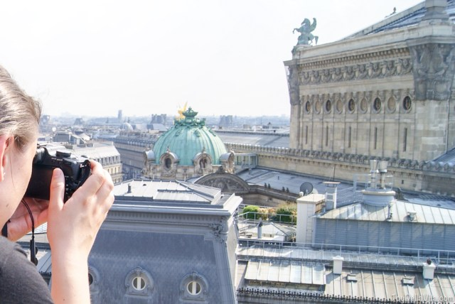 girl tourist paris camera galeries lafayette shopping opera